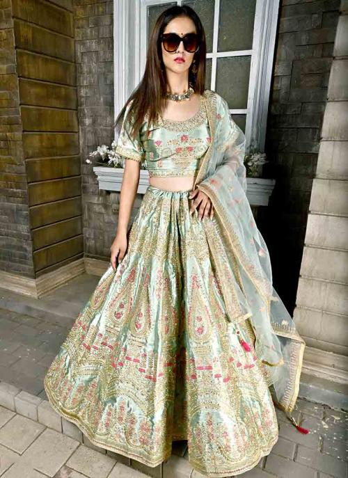 Wedding Wear Sea Green Silk Embroidery Work Lehenga Choli