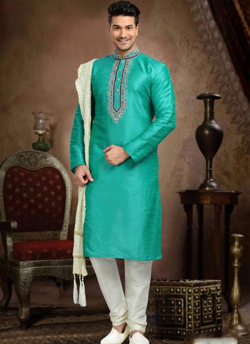 Wedding Wear Sky Blue Art Silk Embroidered Work Churidar Sherwani
