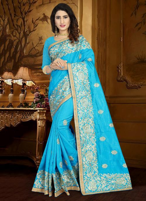 Wedding Wear Sky Blue Art Silk Heavy Embroidery Work Saree