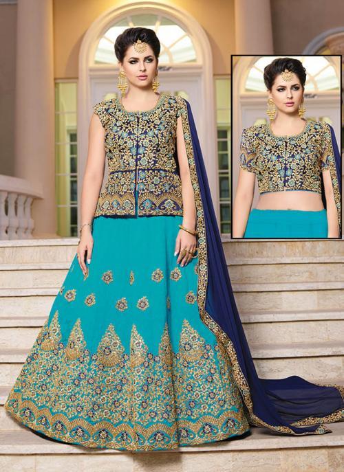 Wedding Wear Sky Blue Banglori Silk Embroidery Work Long Choli Style Lehenga