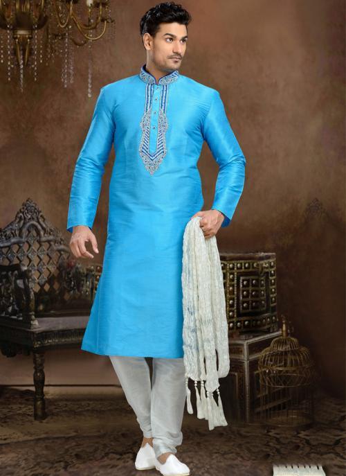 Wedding Wear Sky Blue Dhupion Embroidered Work Churidar Sherwani