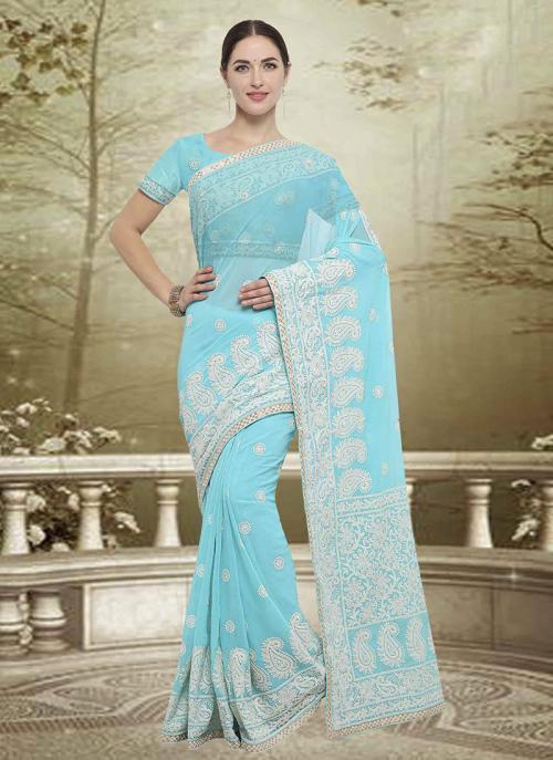 Wedding Wear Sky Blue Georgette Embroidery Work Saree