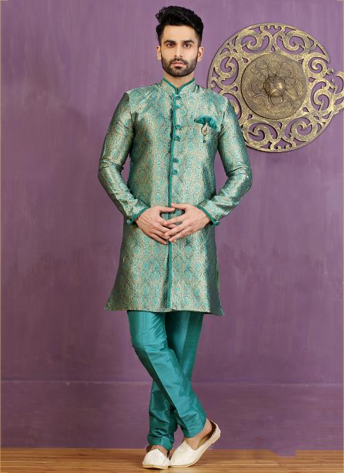 Wedding Wear Sky Blue Jacquard Embroidered Work Sherwani