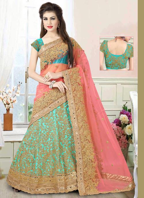 Wedding Wear Sky Blue Net Embroidered Work Lehenga Choli