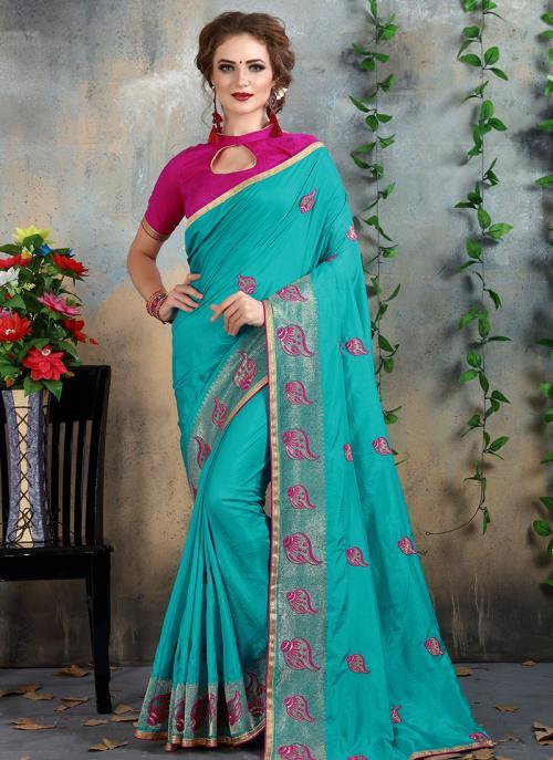 Wedding Wear Sky Blue Silk Zari Embroidery Work Saree