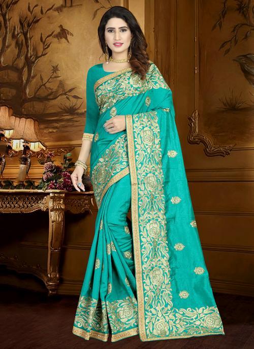 Wedding Wear Teal Art Silk Heavy Embroidery Work Saree