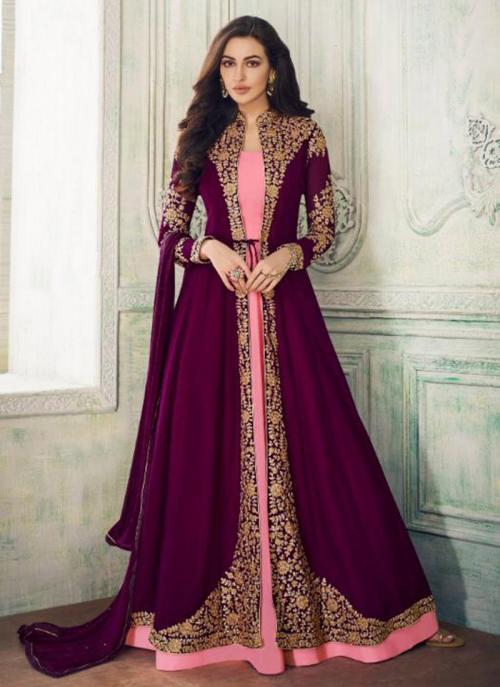 Wedding Wear Violet Georgette Heavy Embroidery Work Salwar Suit