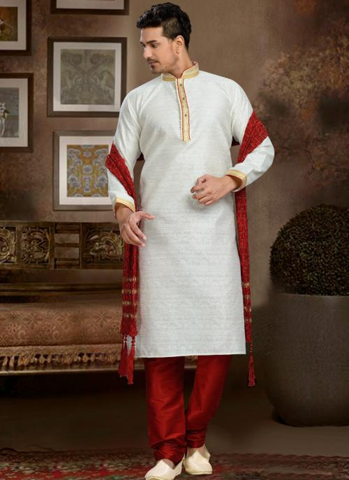 Wedding Wear White Art Silk Embroidered Work Churidar Sherwani