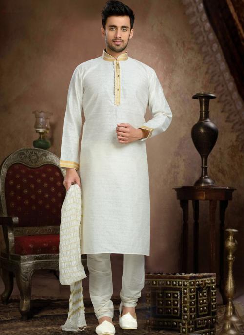 Wedding Wear White Art Silk Embroidered Work Churidar Sherwani