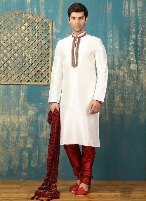 Wedding Wear White Art Silk Embroidered Work Sherwani