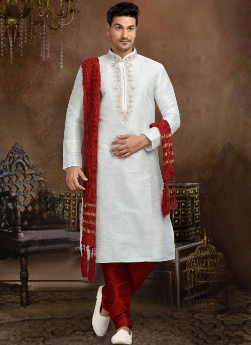 Wedding Wear White Dhupion Embroidered Work Churidar Sherwani