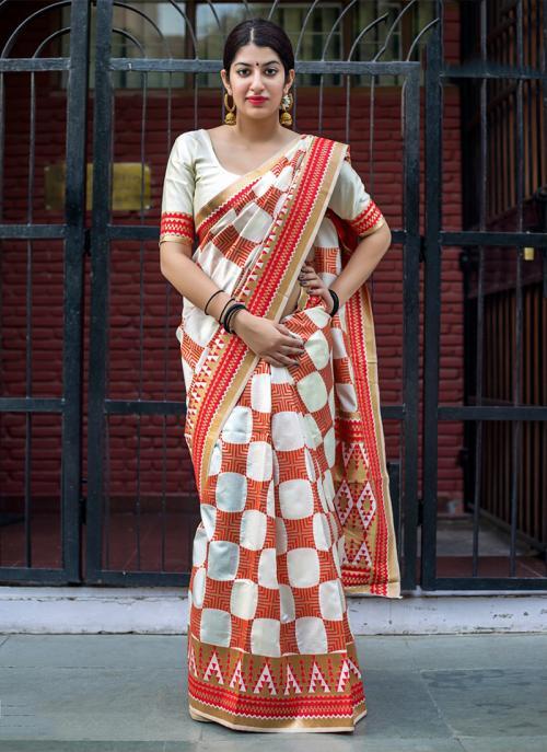 Wedding Wear White Silk Embroidery Work Saree