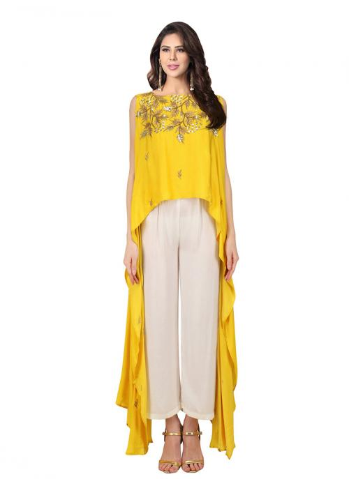 Wedding Wear Yellow Crepe Embroidery Work Prathyusha Garimella Designer Top With Plazzo Pant