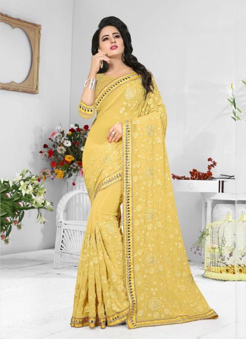 Wedding Wear Yellow Georgette Resham Work Saree