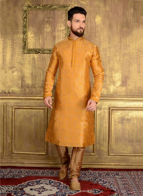 Wedding Wear Yellow Jacqaurd Silk Lace Work Kurta Pajama