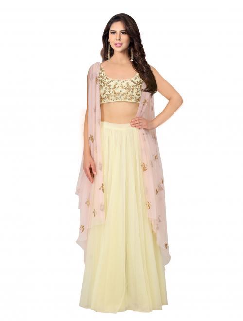Wedding Wear Yellow Net Sequins Work Prathyusha Garimella Designer Jacket Style Crop Top With Skirt