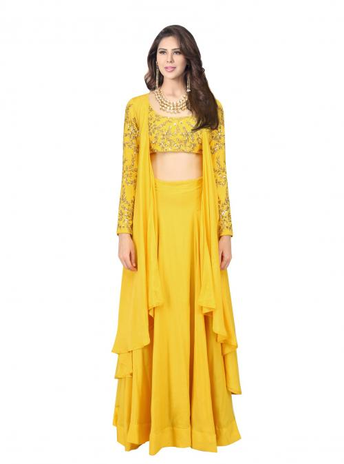 Wedding Wear Yellow Satin Embroidery Work Prathyusha Garimella Designer Jacket Style Suit