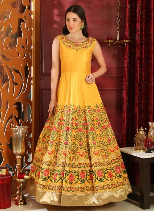 Wedding Wear Yellow Silk Cutdana Work Gown