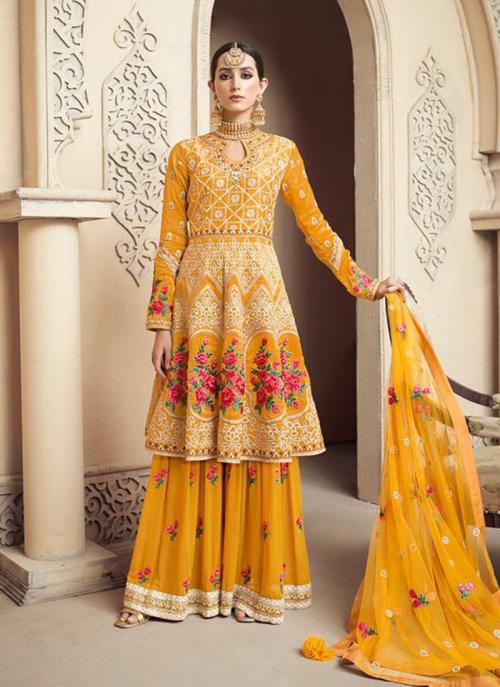 Wedding Wear Yellow Viscose Upada Embroidery Work Sharara Style