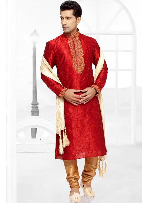 Wholesale Red Kurta Pajama With Dhupion Fabric